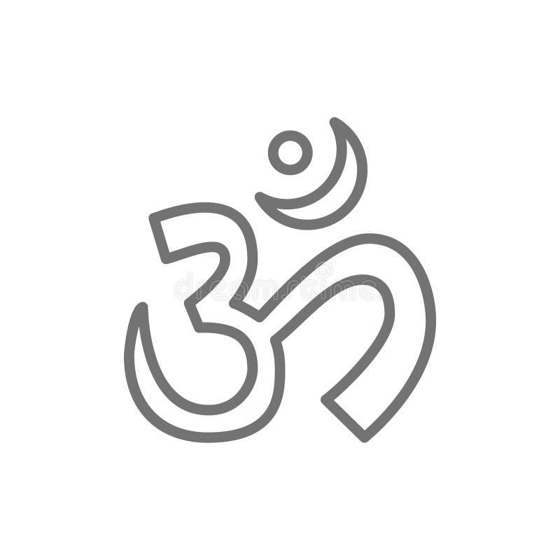 Símbolo sano sagrado indio de OM o de Aum, línea icono del mantra libre illustration
