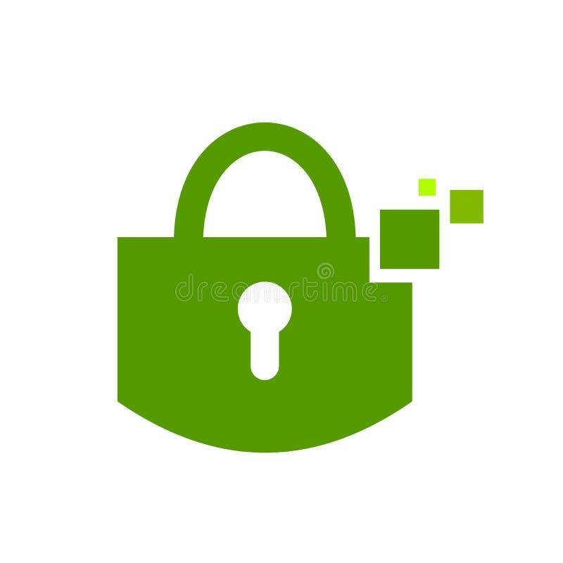 Símbolo seguro Logo Design do verde do cadeado de Digitas ilustração royalty free