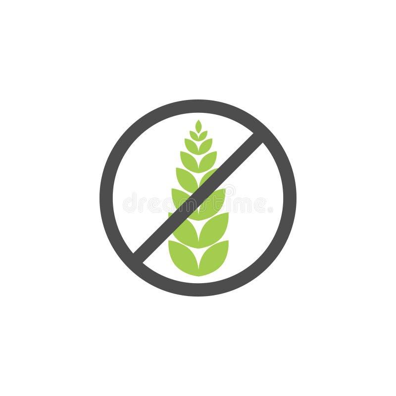 Símbolo sem glúten do ícone do vetor da grão Etiqueta saudável do alimento do trigo Sinal da dieta do pão de glúten ilustração stock