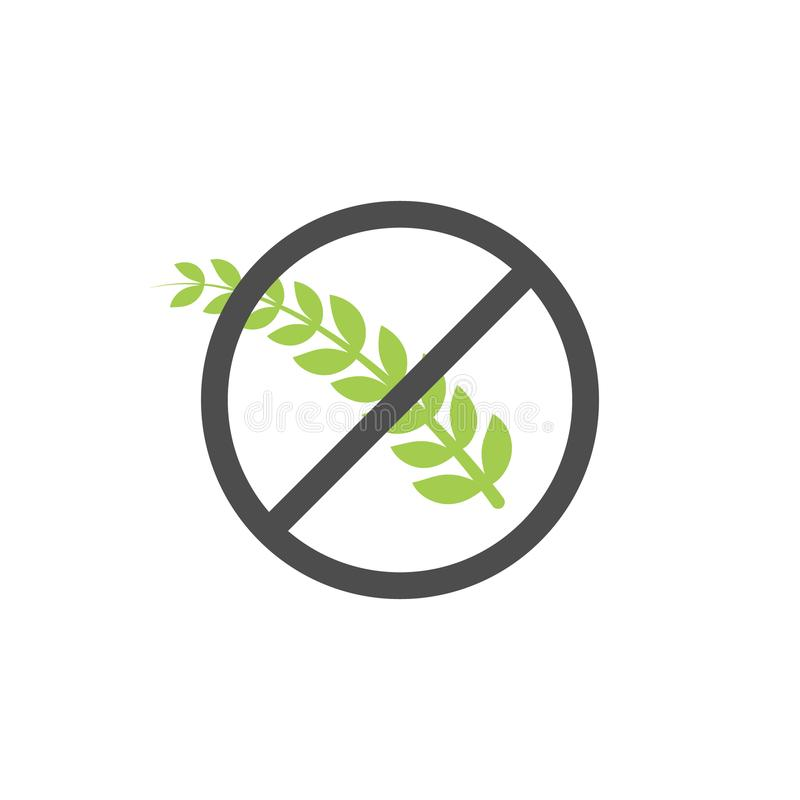 Símbolo sem glúten do ícone do vetor da grão Etiqueta saudável do alimento do trigo Sinal da dieta do pão de glúten ilustração do vetor