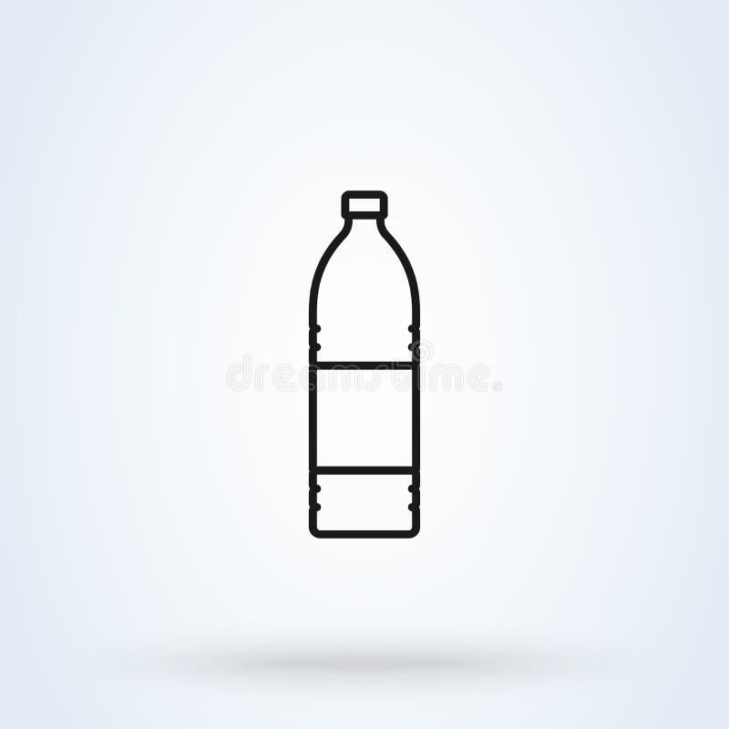 Símbolo simple de la botella L?nea estilo plano del arte Icono del ejemplo del vector aislado en el fondo blanco ilustración del vector