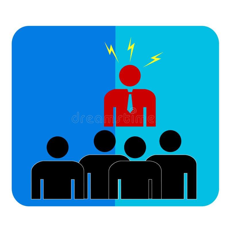 Símbolo simple, hombre de negocios enojado a otros hombres libre illustration