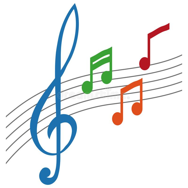 Símbolo simples da nota musical, conceito da clave de sol, notas da música com clave de sol, etiqueta da música, sinal da clave d ilustração stock