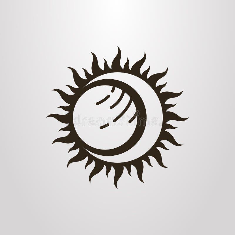 Símbolo simples do vetor do eclipse da lua e do planeta do sol ilustração stock