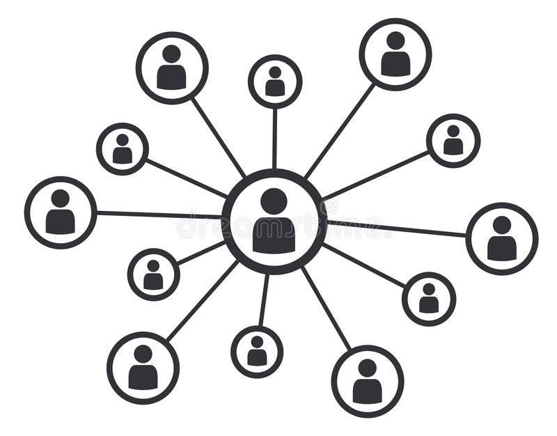 Símbolo social da ilustração do vetor de uma comunicação empresarial do conceito dos meios dos trabalhos em rede ilustração royalty free
