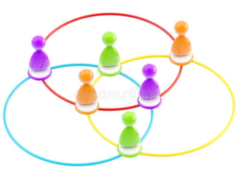 Símbolo social de la red como figuras humanas enlazadas ilustración del vector
