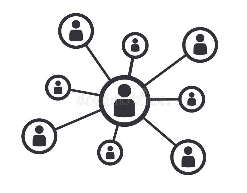 Símbolo social do ícone do conceito de uma comunicação empresarial dos trabalhos em rede ilustração do vetor