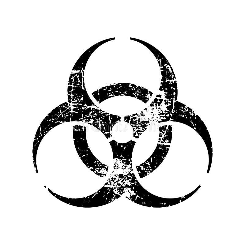 Símbolo sucio del sello de goma del biohazard del negro del vector del ejemplo stock de ilustración