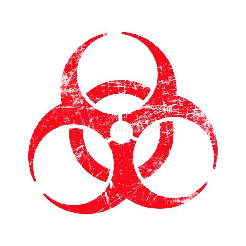 Símbolo sucio del sello de goma del biohazard rojo del vector del ejemplo ilustración del vector