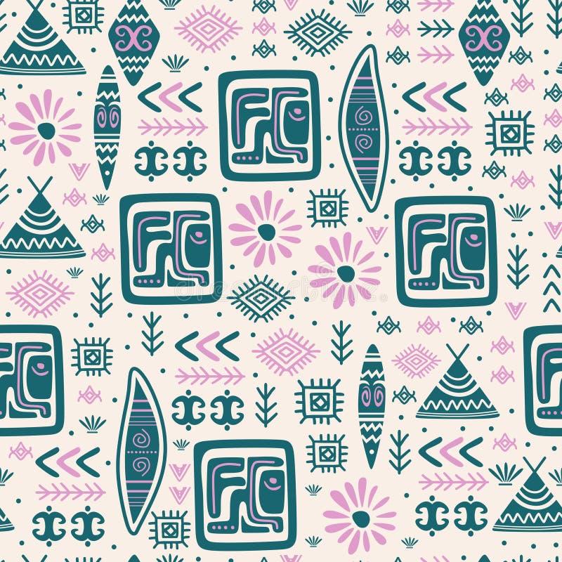 Símbolo tirado do teste padrão mão étnica tribal bonito com o desenho sem emenda do projeto asteca antigo do maya ilustração royalty free