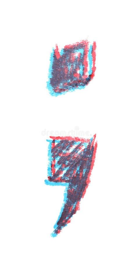 Símbolo tirado mão do ponto-e-vírgula isolado foto de stock royalty free