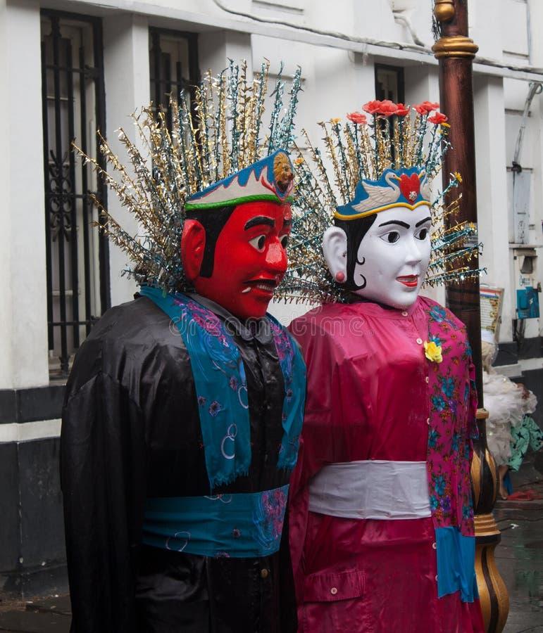 Símbolo tradicional de la cultura de la marioneta de Ondel-ondel Jakarta fotografía de archivo libre de regalías