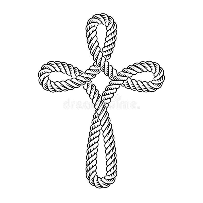 Símbolo transversal cristão da corda ilustração royalty free