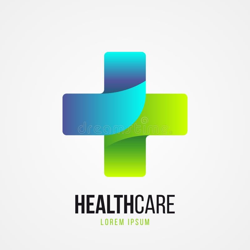 Símbolo transversal médico verde moderno Vetor ilustração do vetor