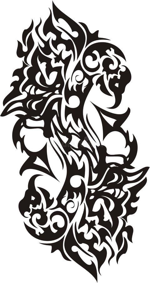 Símbolo tribal del pájaro el flamear en la forma S de la letra stock de ilustración