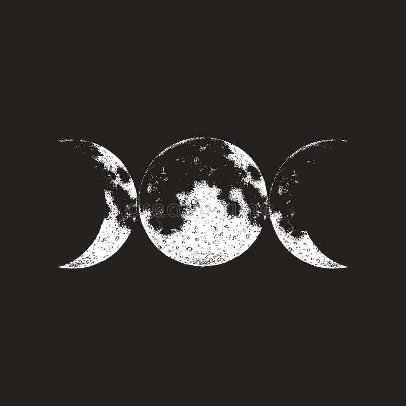 Símbolo triple de la diosa, tres lunas, wicca, brujería, símbolo mágico, ejemplo del vector ilustración del vector
