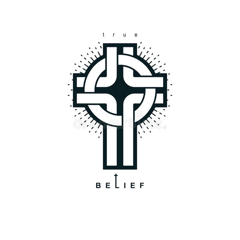 Símbolo verdadeiro da religião do vetor da opinião de Christian Cross, cristandade ilustração royalty free