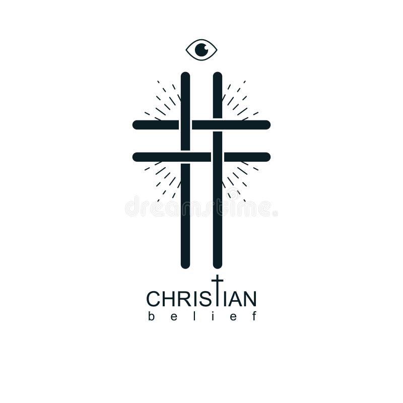 Símbolo verdadeiro da religião do vetor da opinião de Christian Cross, cristandade ilustração stock