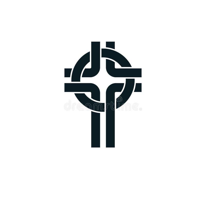 Símbolo verdadeiro da religião do vetor da opinião de Christian Cross, cristandade ilustração do vetor