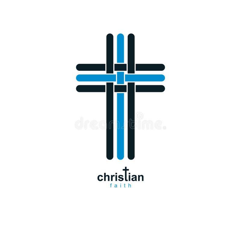 Símbolo verdadero de la religión del vector de la creencia de Christian Cross, cristianismo stock de ilustración
