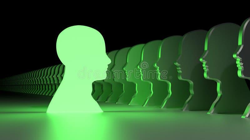 Símbolo verde da cabeça da liderança que enfrenta a multidão ilustração stock
