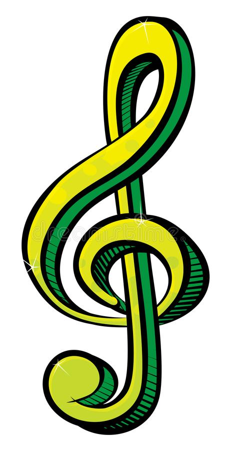 Símbolo verde da chave do violino da música ilustração stock