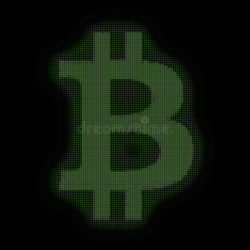 Símbolo verde de Bitcoin del vector construido con números Bitcoin, transferencia del blockchain Representación del código de ord stock de ilustración