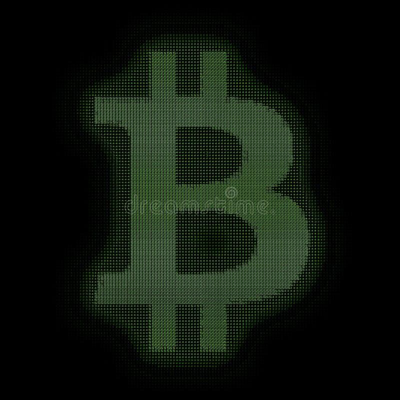 Símbolo verde de Bitcoin do vetor construído com números Bitcoin, transferência do blockchain Representação do código de computad ilustração stock