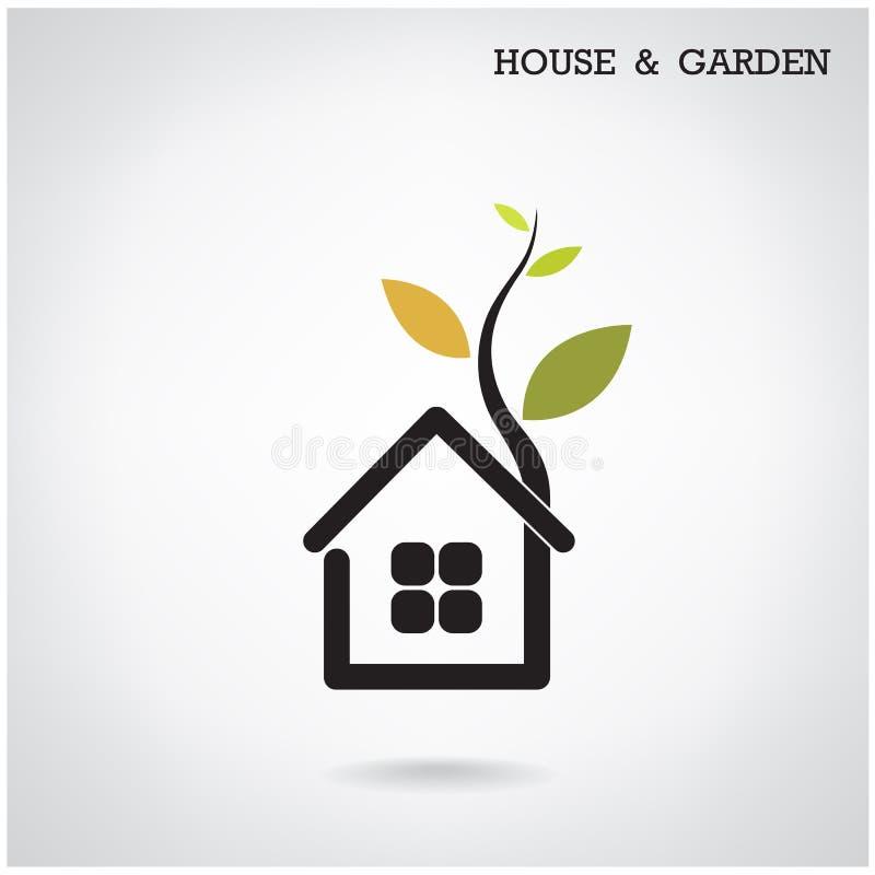 Símbolo verde del concepto, de la casa y del jardín del hogar de la energía Illus del vector ilustración del vector