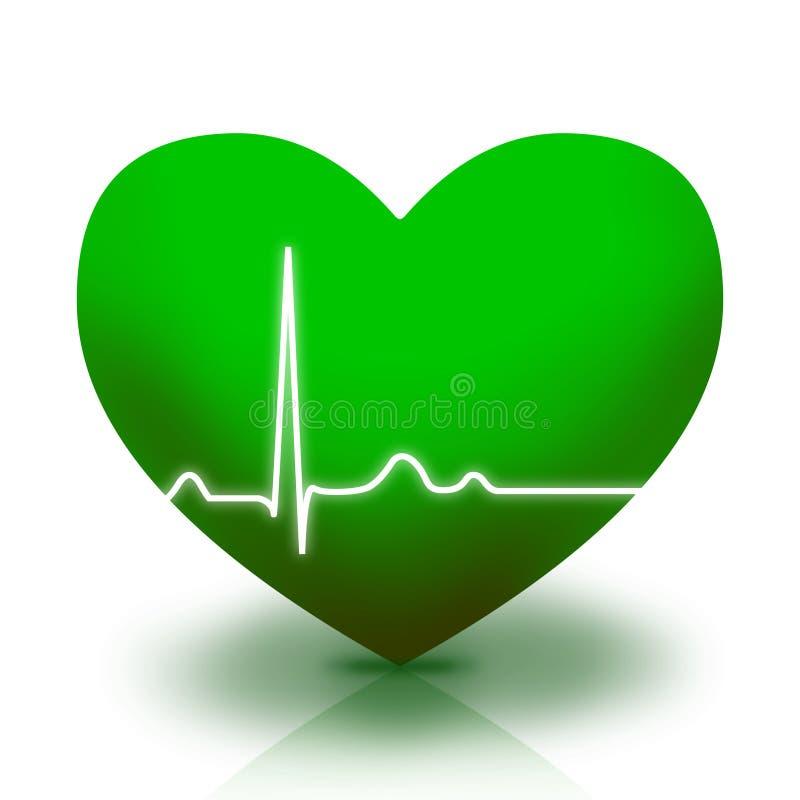 Símbolo verde do coração ilustração royalty free