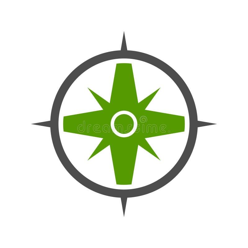 Símbolo verde Logo Design del compás de la naturaleza ilustración del vector