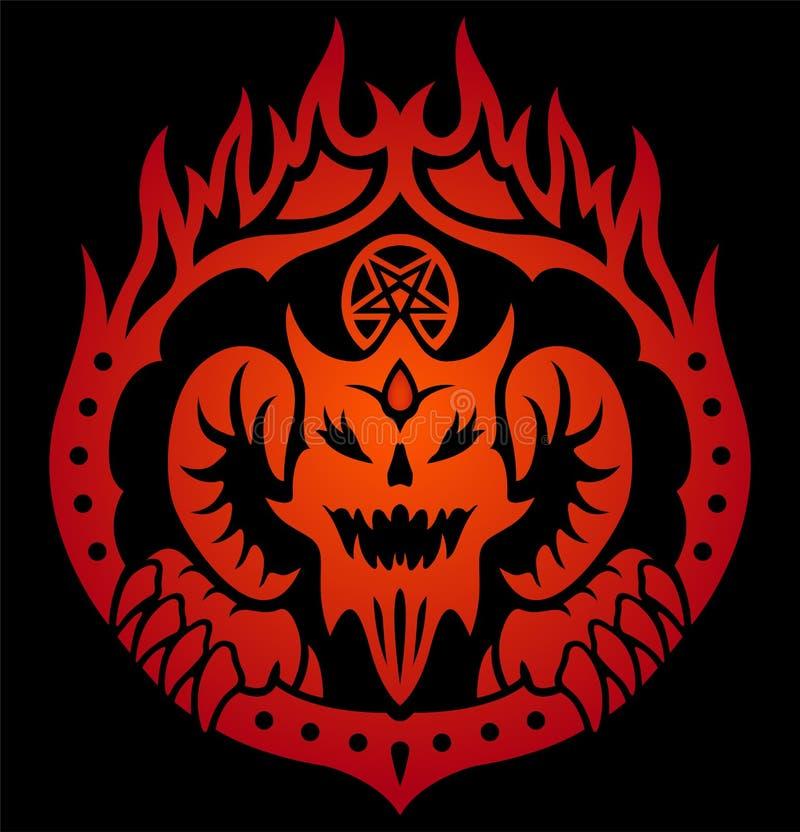 Símbolo vermelho com o diabo no círculo do fogo ilustração do vetor