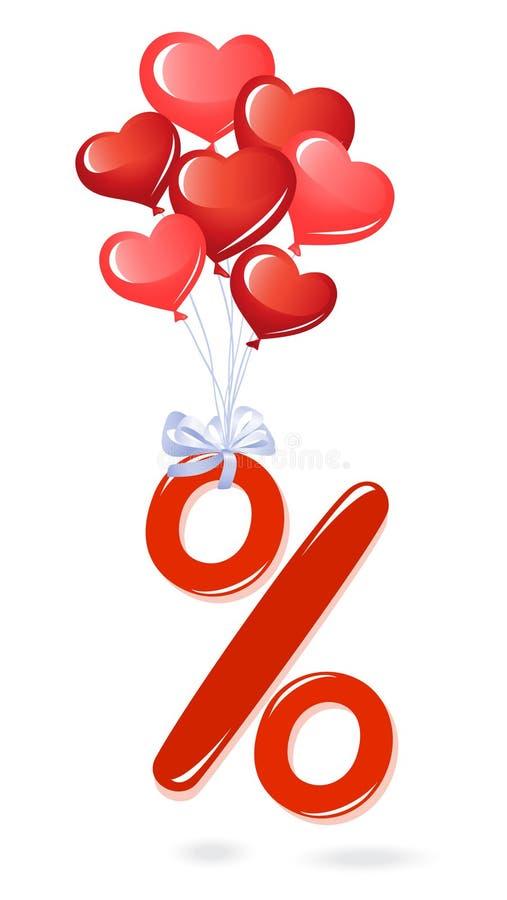 Símbolo vermelho da porcentagem com balões do coração ilustração stock