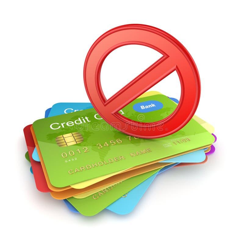 Símbolo vermelho da proibição em cartões de crédito coloridos. fotos de stock