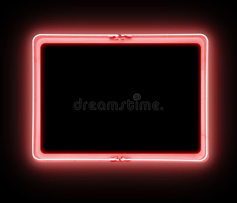 Símbolo vermelho de néon do sinal de aviso fotografia de stock royalty free