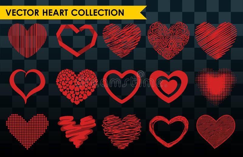 Símbolo vermelho do dia de são valentim do amor do ícone do vetor do coração do estilo de Differents e casamento romântico do pro ilustração do vetor