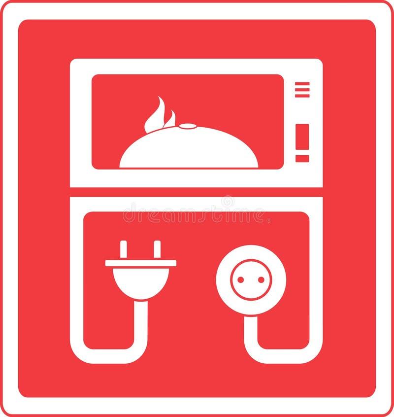 Forno microondas com prato ilustração do vetor