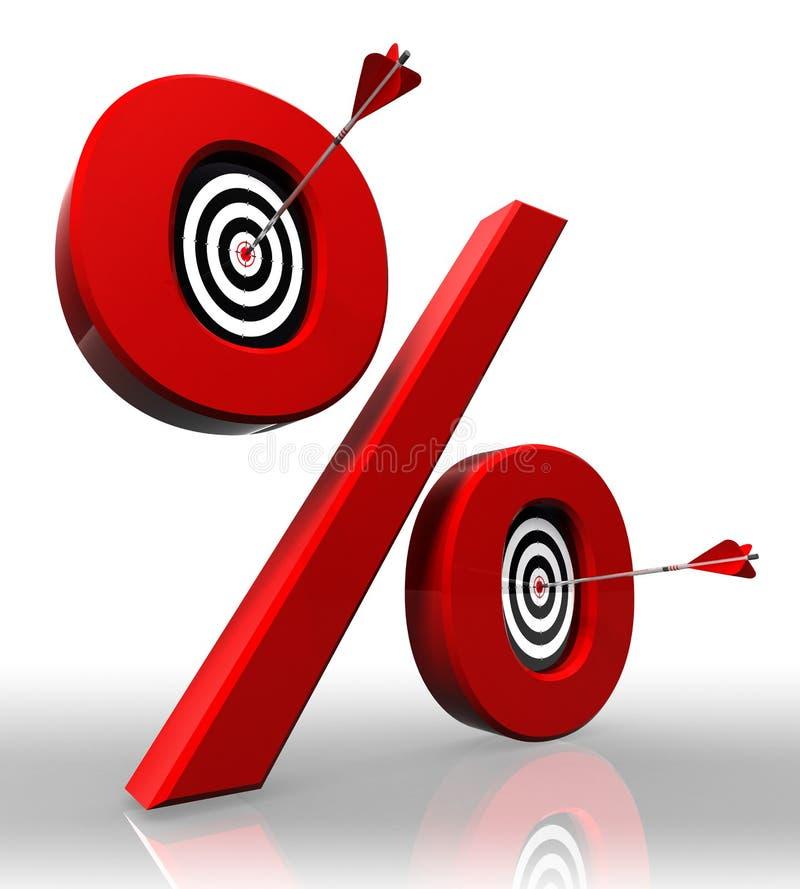 Símbolo vermelho dos por cento com alvos conceptuais ilustração do vetor