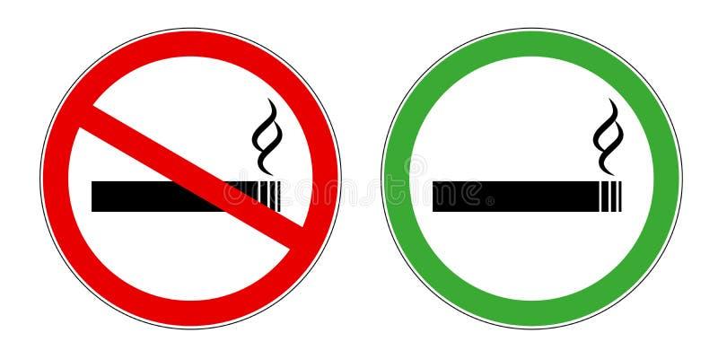 Símbolo vermelho e verde da área de fumo e da área não fumadores do sinal para as áreas públicas reservadas e proibidas ilustração royalty free