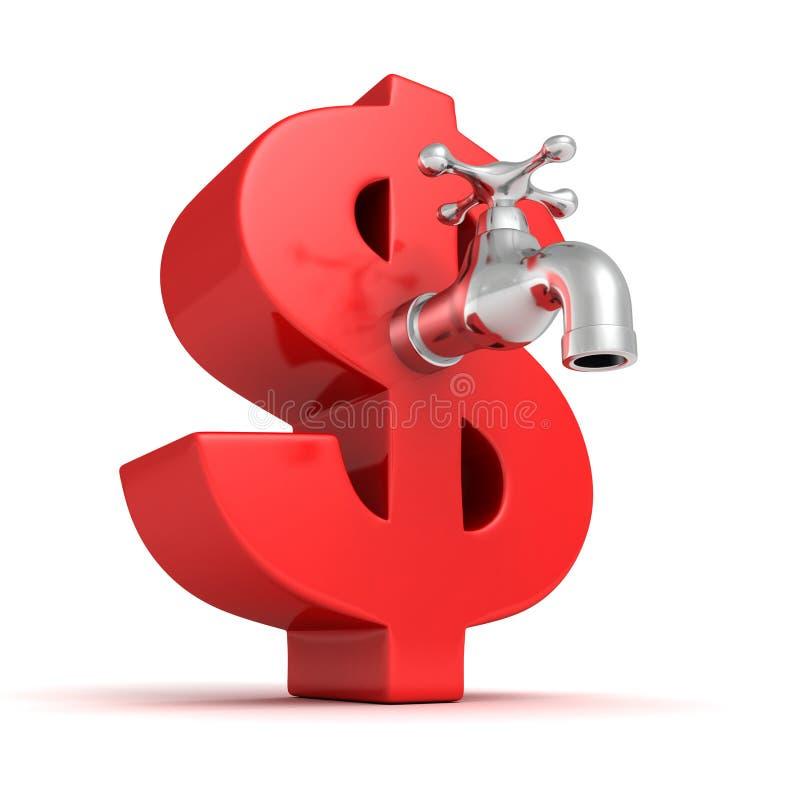 Símbolo vermelho grande do dólar com a torneira de água metálica imagem de stock royalty free