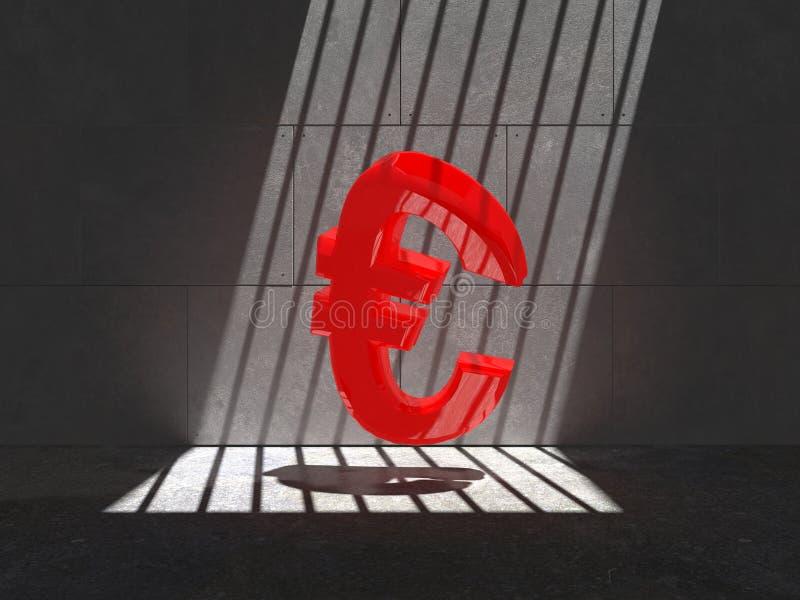 Símbolo vermelho prendido do Euro ilustração stock