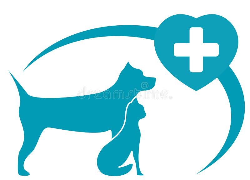 Símbolo veterinario con el perro, gato en el fondo blanco stock de ilustración