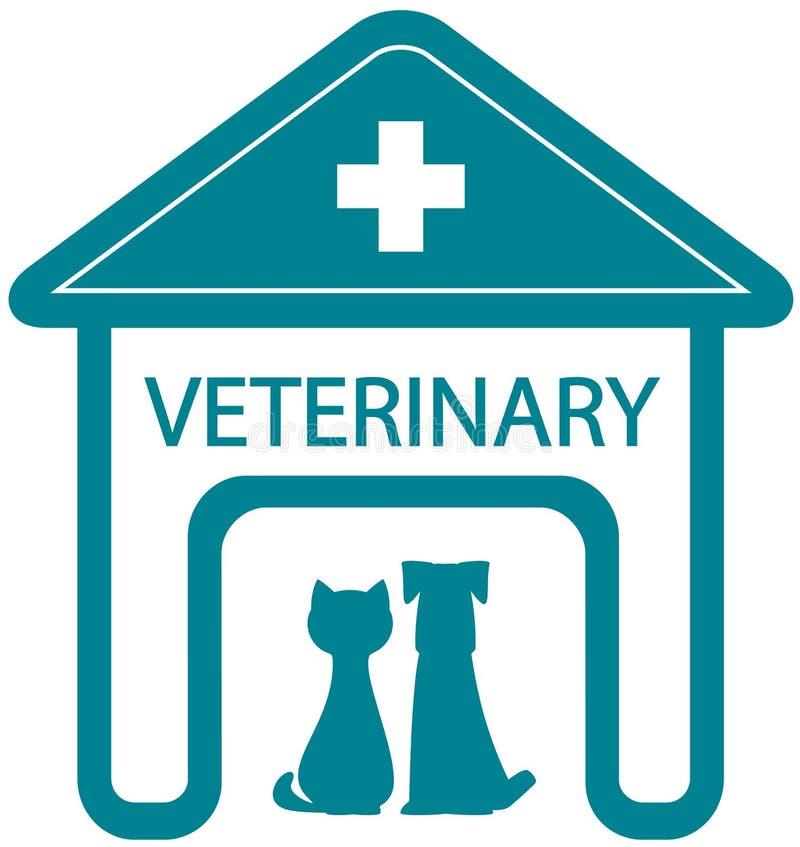 Símbolo veterinario con la clínica y el animal doméstico caseros libre illustration