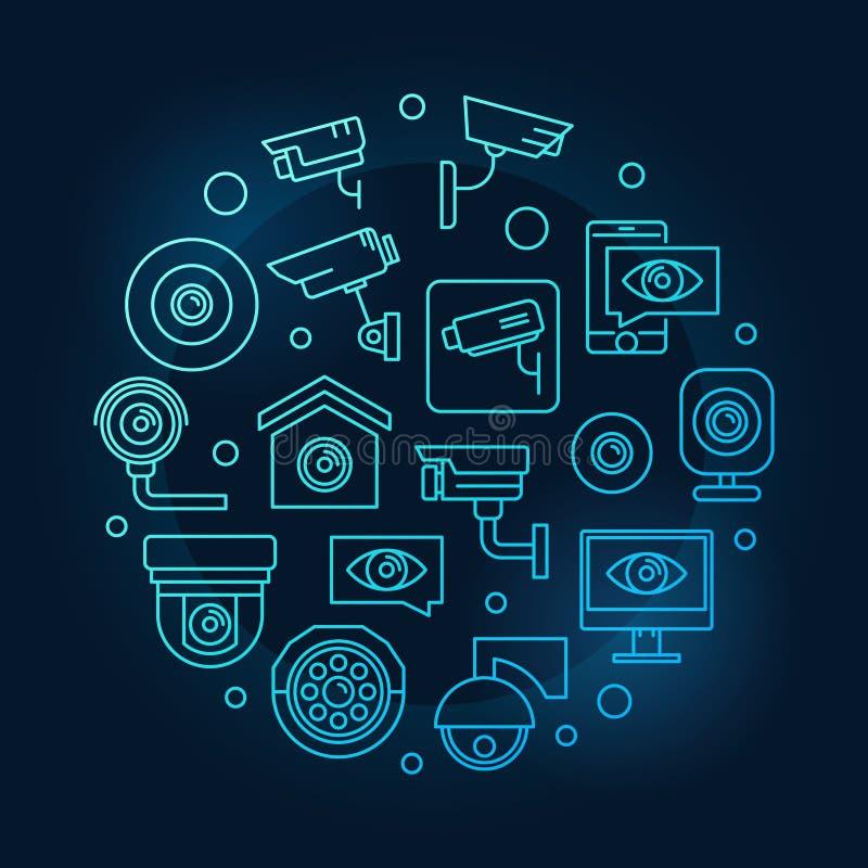 Símbolo video do azul da fiscalização Ilustração do CCTV do vetor ilustração royalty free