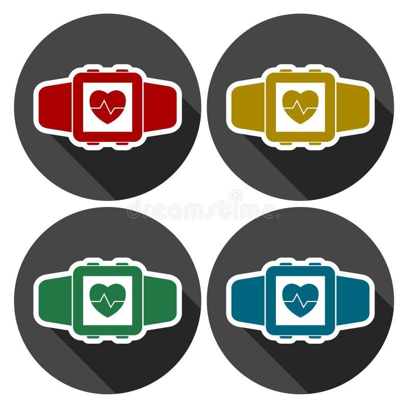 Símbolo wearable da tecnologia de Smartwatch com sombra longa ilustração stock