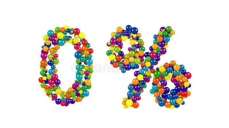 Símbolo zero dos por cento em bolas coloridas no branco ilustração royalty free