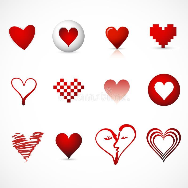 Símbolos/ícones do coração ilustração do vetor