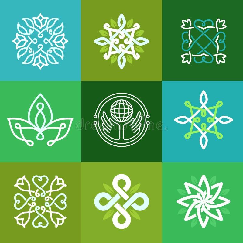 Símbolos abstratos da ecologia do vetor - emblemas do esboço ilustração royalty free