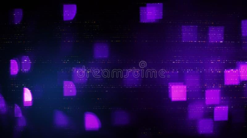 Símbolos abstratos e luzes obscuras dos quadrados do roxo ilustração royalty free