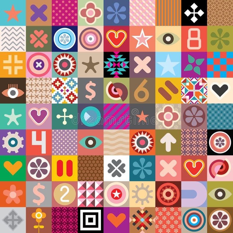 Símbolos abstratos e testes padrões ilustração do vetor